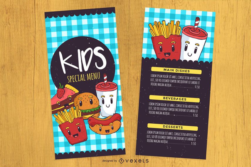 KidS Menu Design Template  Vector Download