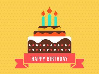 Cartão de feliz aniversario com bolo plano