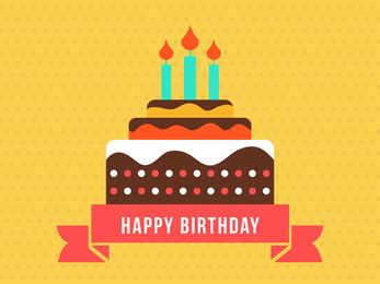 Tarjeta de feliz cumpleaños con torta plana