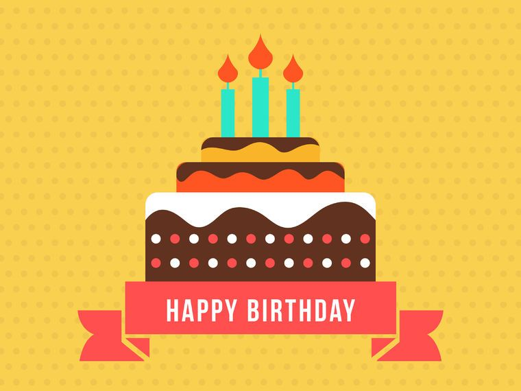 Happy Birthday Card With Flat Cake Vector Download