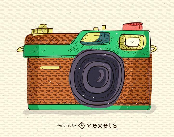 Retro, vindima, câmera, ilustração