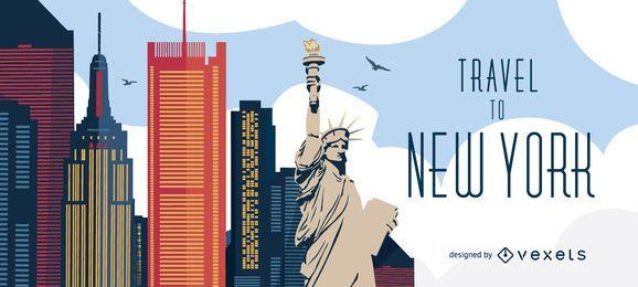 Fahren Sie zur Skyline von New York