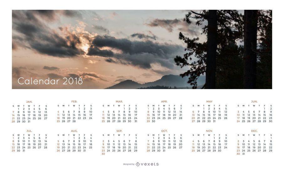 Calendario simple 2018 con paisaje