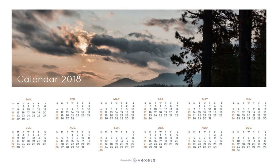 Simple 2018 Calendar with landscape
