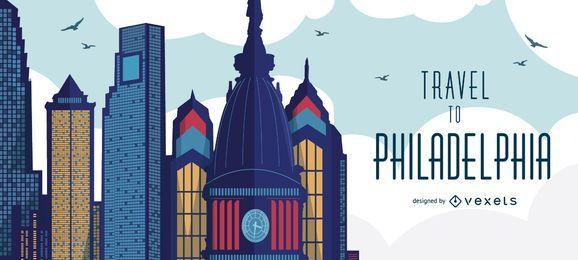 Reisen Sie zur Skyline von Philadelphia