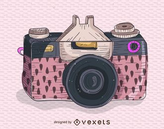 Pink retro camera illustration