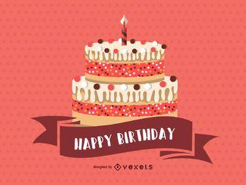 Cartão cor-de-rosa feliz aniversario