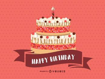 Cartão de feliz aniversário rosa