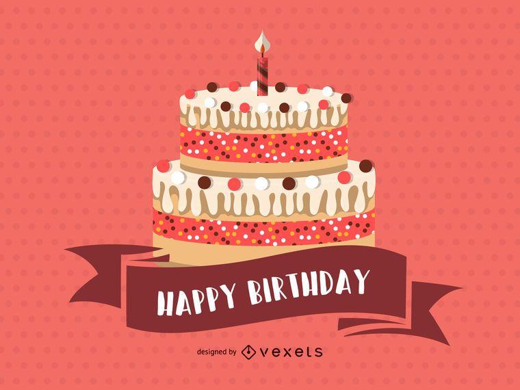 Tarjeta rosa feliz cumpleaños