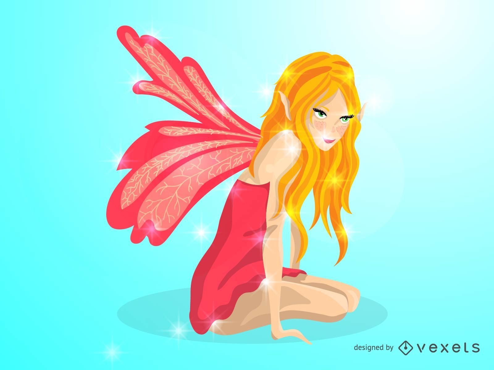 Cute illustrated fairy in pink