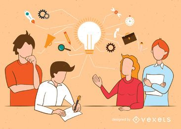Ilustração do conceito trabalho em equipe