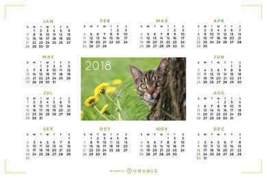 Calendário 2018 com imagem de gato