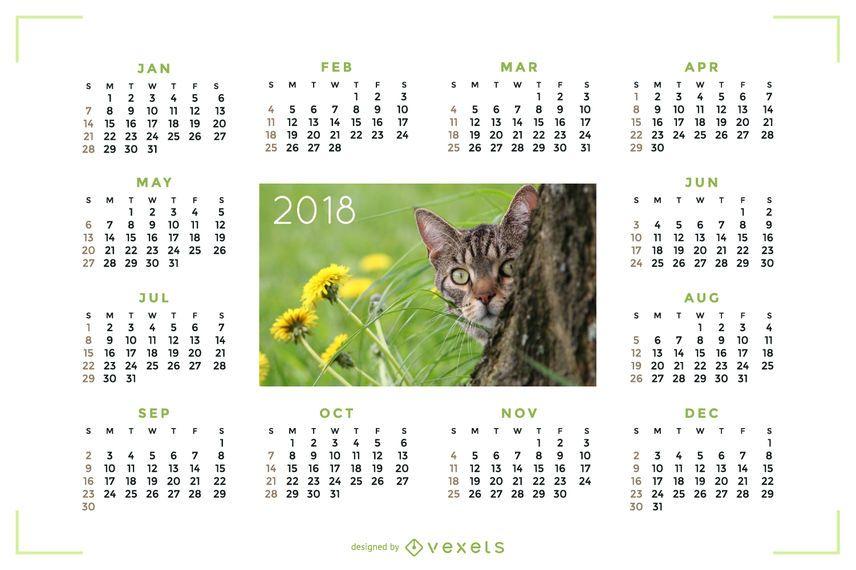Calendário de 2018 com imagem de gato
