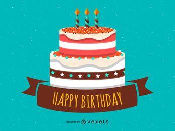 Cartão colorido feliz aniversário