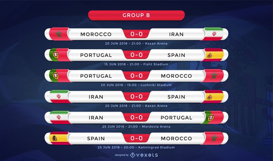 Russia 2018 Group B fixture