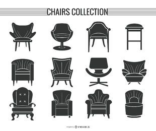 Conjunto de silhueta de cadeira e sofá