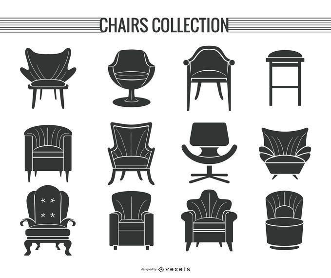 Conjunto de silla y sofá silueta.