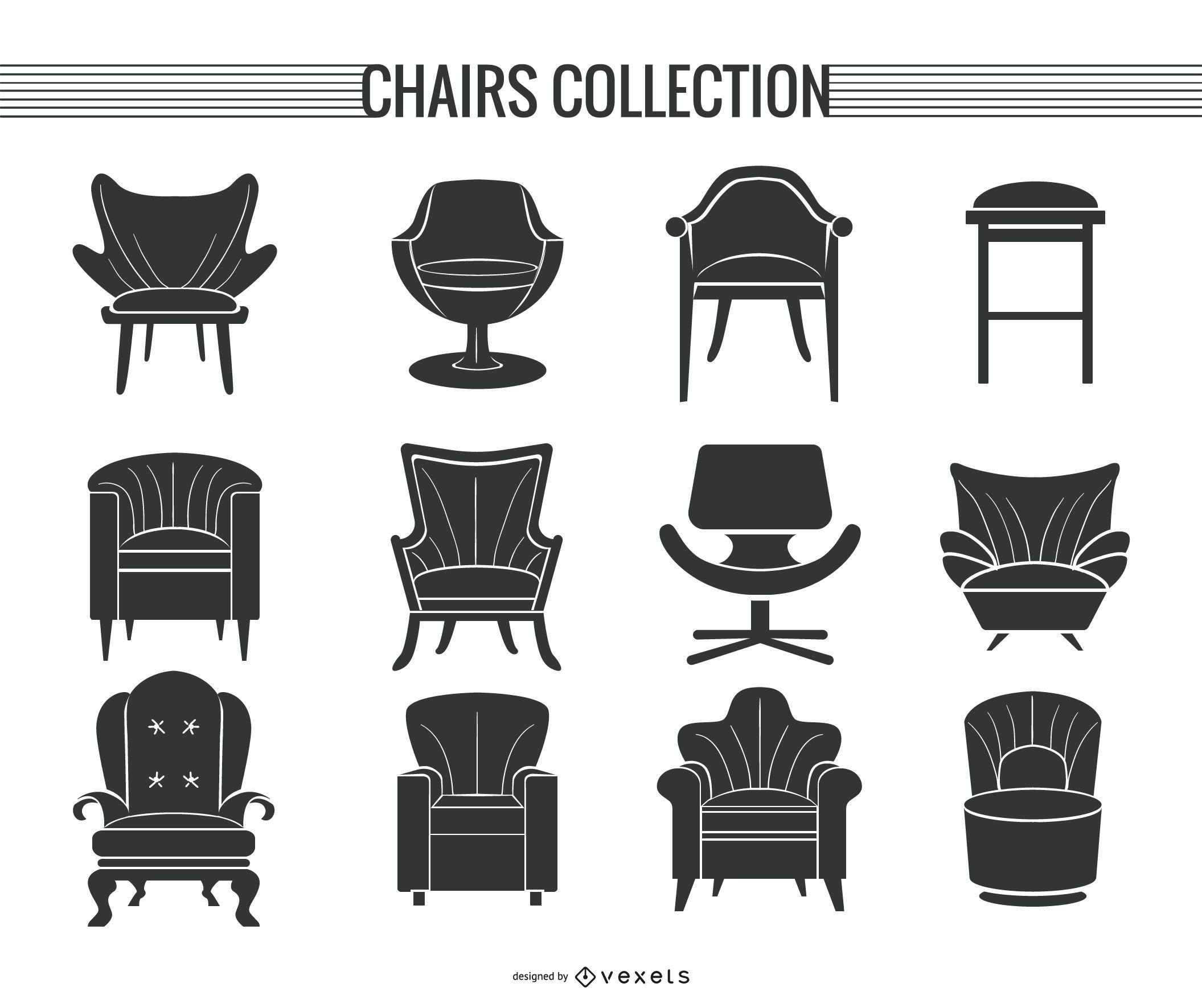 Conjunto de silueta de silla y sofá