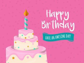 Cartão de aniversário de bolo grande