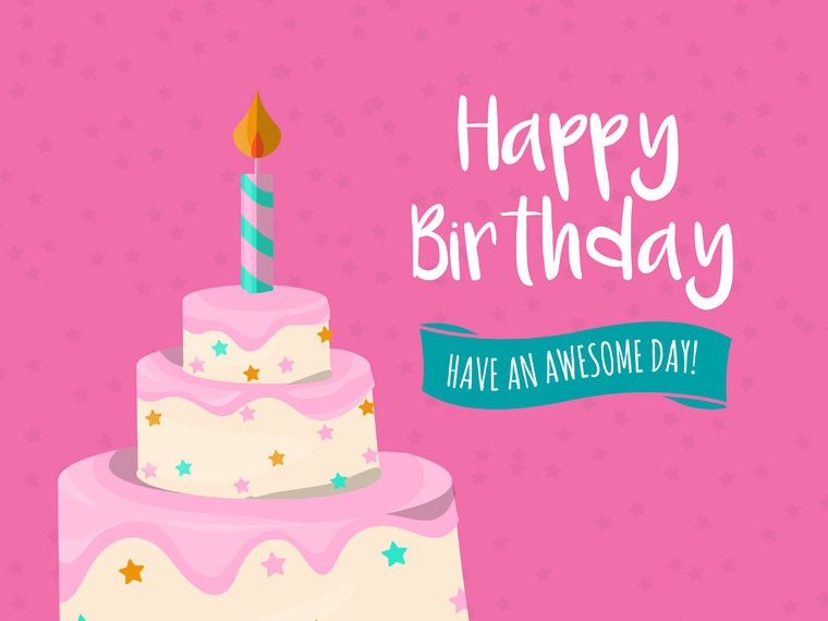 Big Cake Birthday Card Vector Download