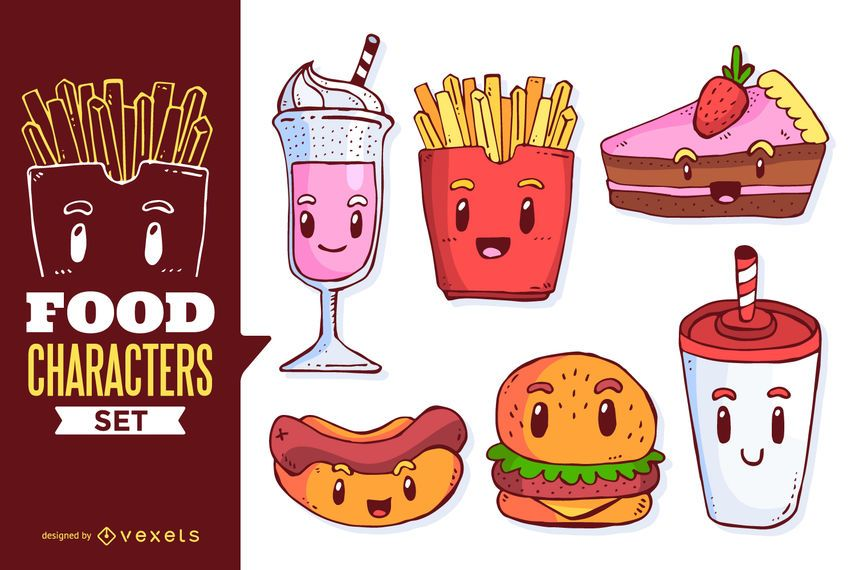 Food cartoons illustration set