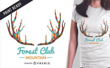 Diseño de camiseta de ciervo y letras.