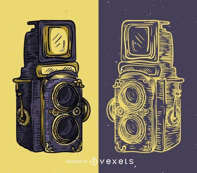 Ilustración de cámara de formato medio vintage