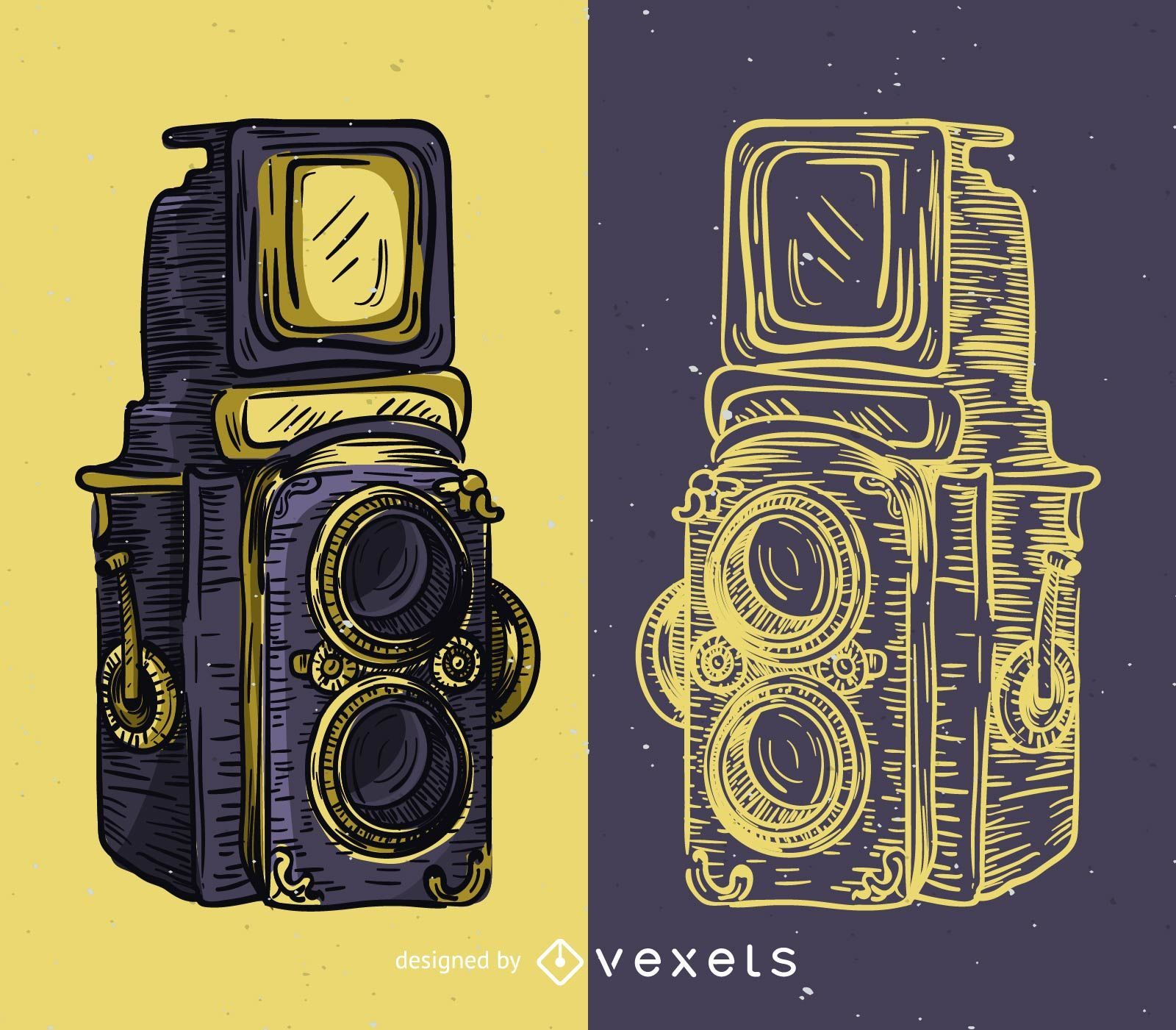 Vintage medium format camera illustration