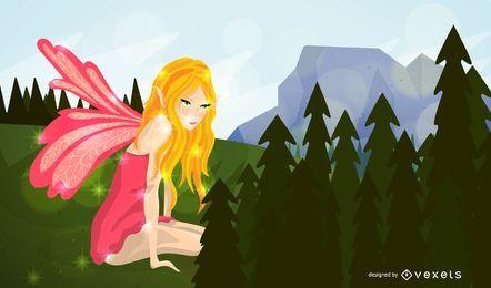 Ilustração da fada em uma floresta