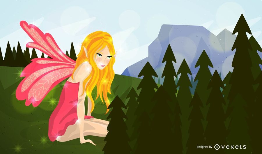 Fairy looking over forest