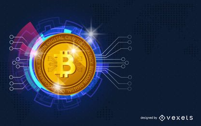 Diseño de cabecera de criptomoneda Bitcoin