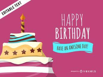 Cartão colorido de bolo de aniversário