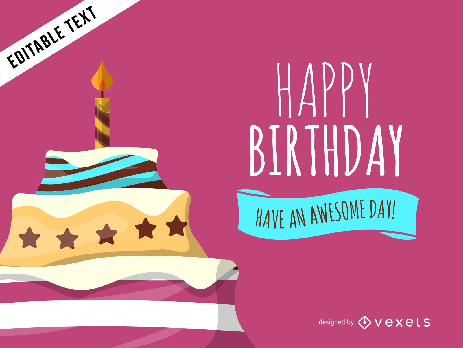 Colorful Birthday Cake Greeting Card Vector Download