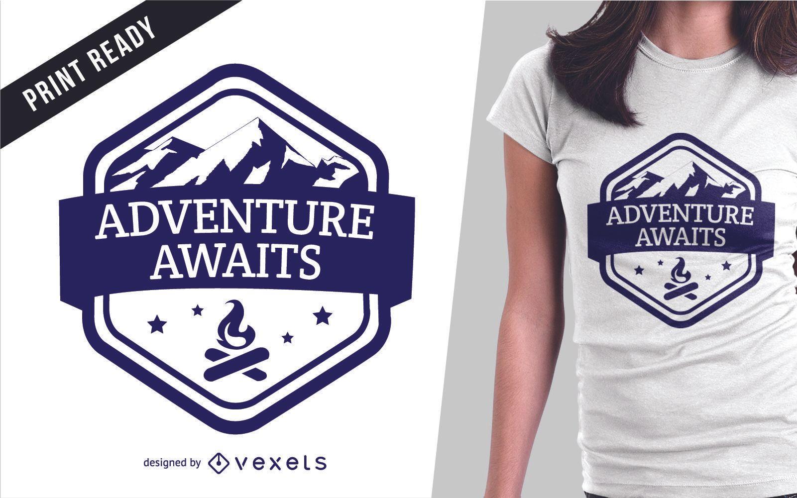 Dise?o de camiseta de ilustraci?n de aventura.