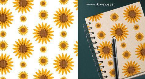 Patrón simple de ilustraciones de girasol