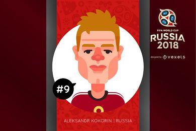 Personaje de dibujos animados Kokorin Russia 2018