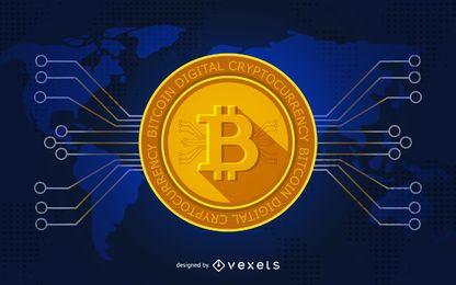 Ilustración de bitcoin para cabecera
