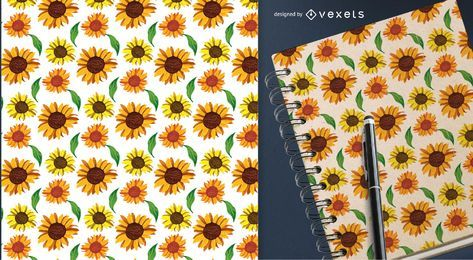 Country sunflowers seamless pattern