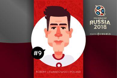 Personaje de dibujos animados Lewandowski Rusia 2018