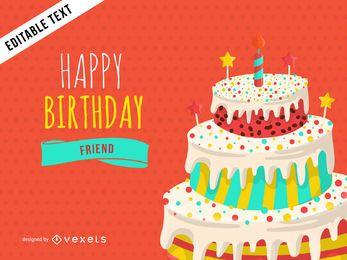 Design de cartão de saudação de feliz aniversario