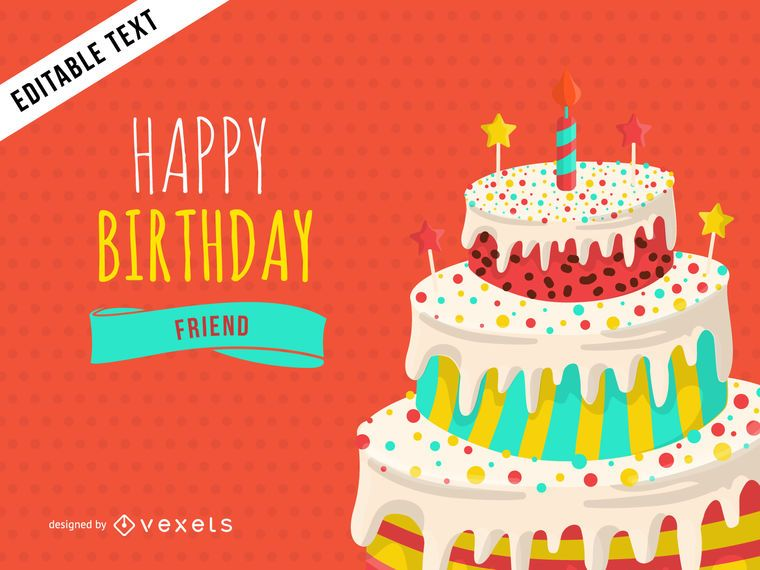 Happy Birthday Greeting Card Design Vector Download