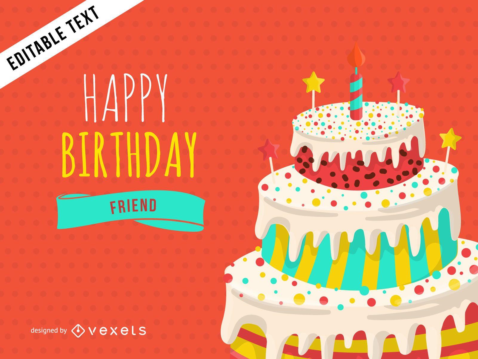 Diseño de tarjeta de felicitación de cumpleaños feliz