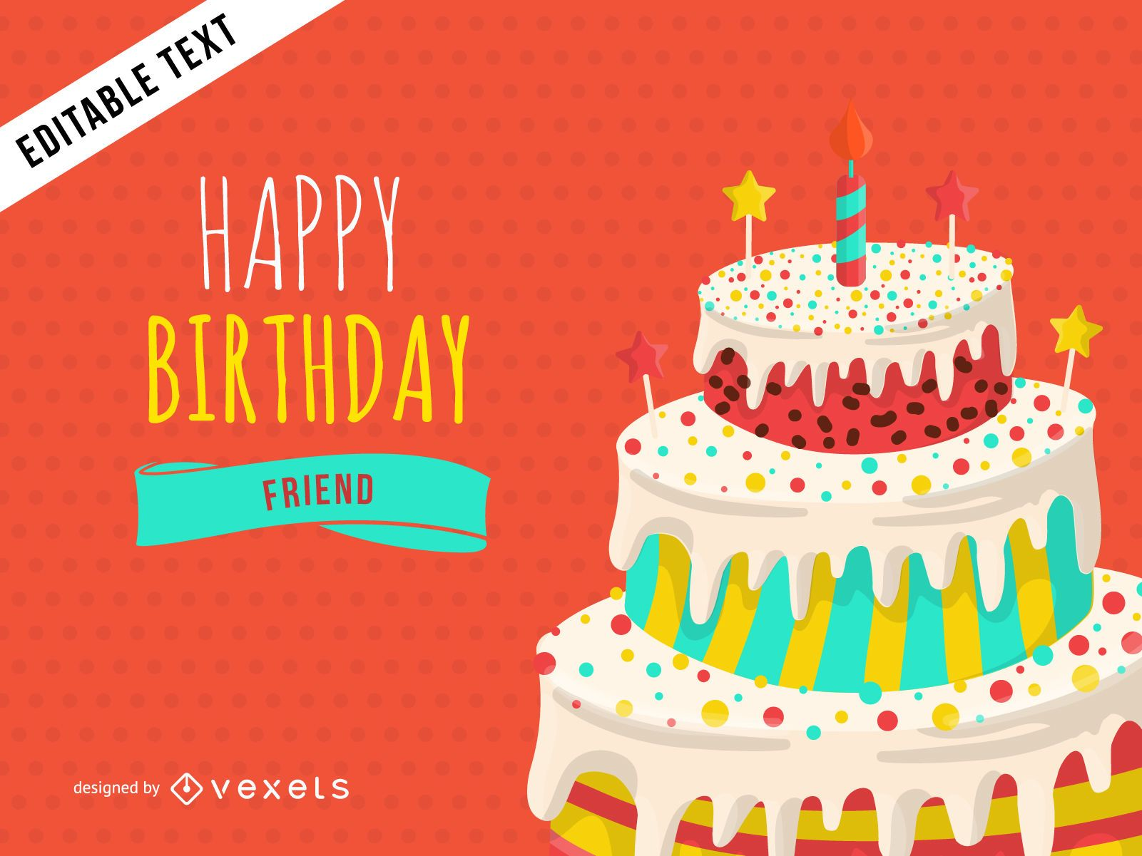 Happy Birthday Greeting Card Design Download Large Image 1601x1201px License User
