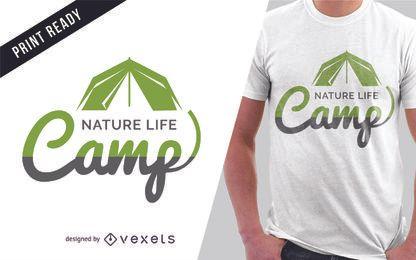 Diseño de camiseta de camping.