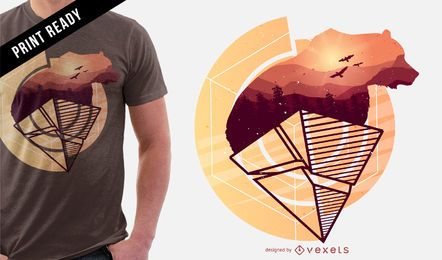 Diseño de camiseta osito abstracto.