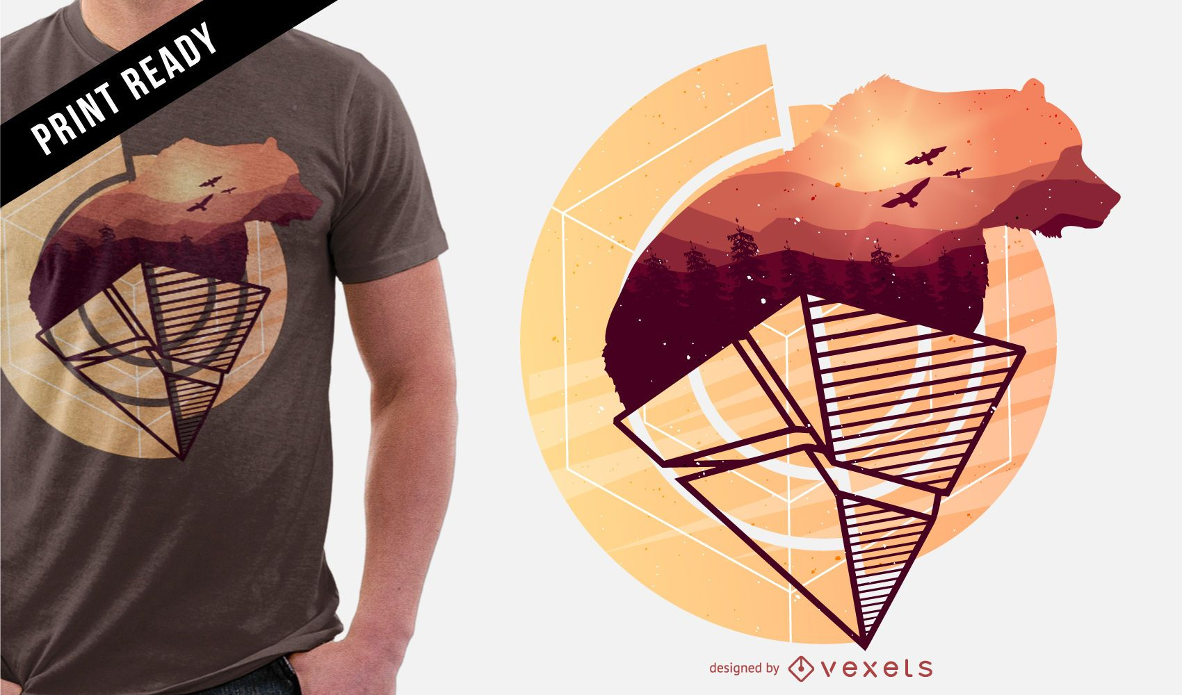 Diseño de camiseta de oso abstracto