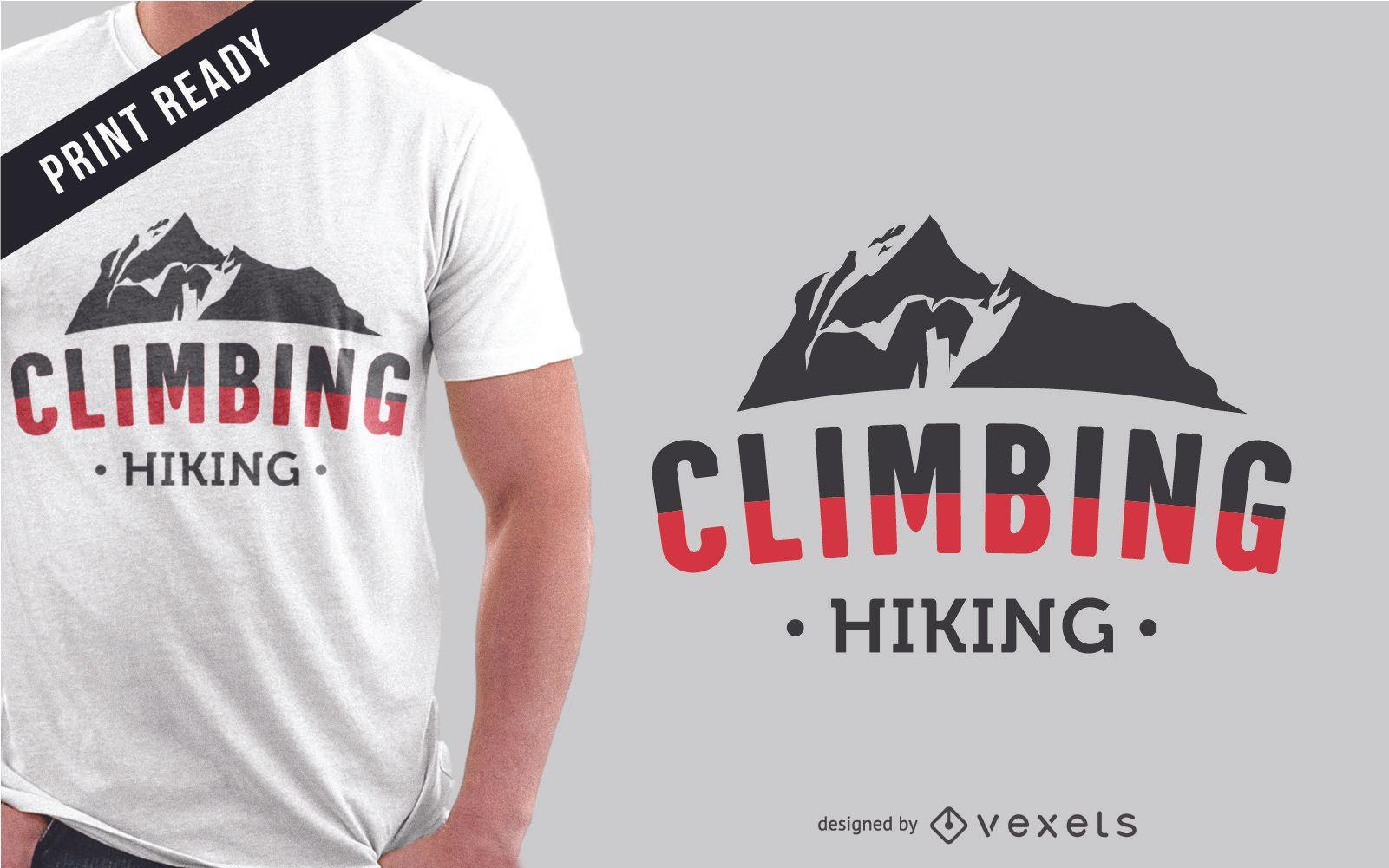 Diseño de camiseta escalando montañas.