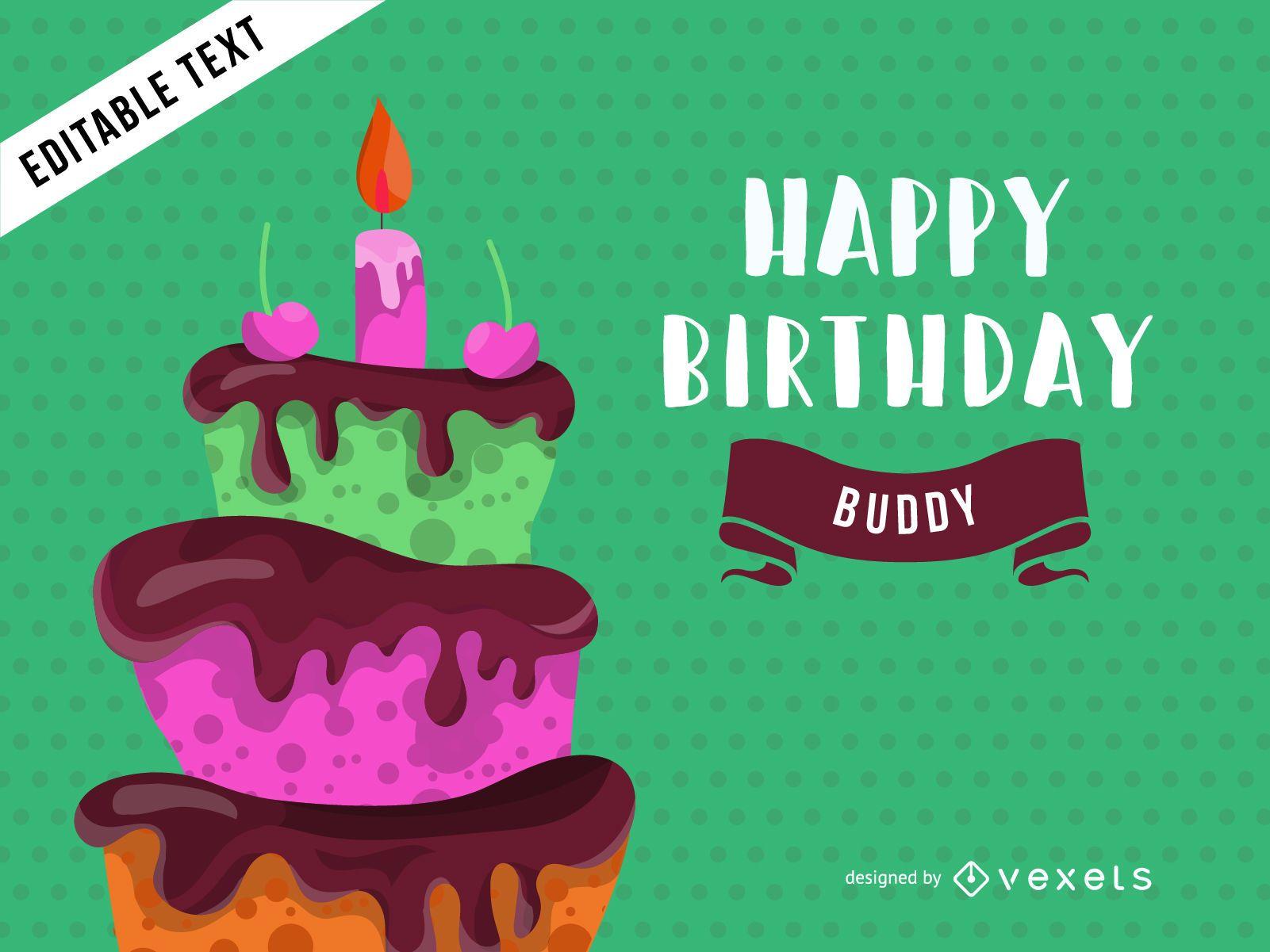 Diseño de tarjeta de felicitación de cumpleaños con pastel.