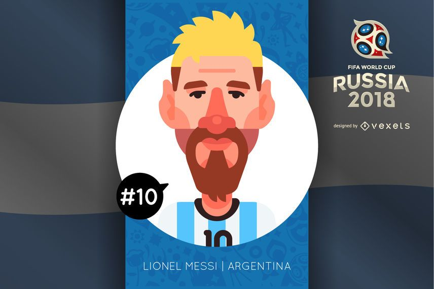 Lionel Messi Russia 2018 cartoon