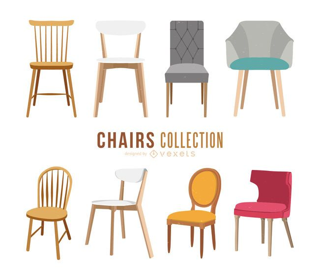 Isolated chair illustration set